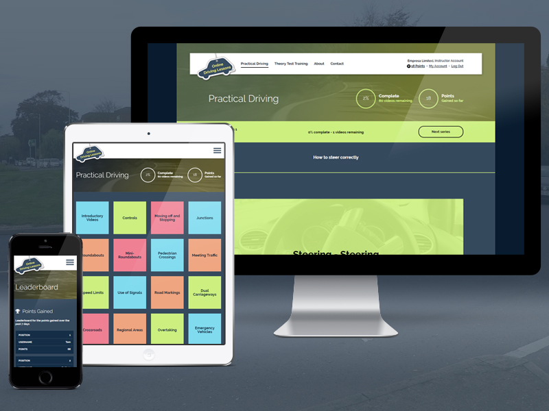 online driving lessons website displayed on a variety of devices including mobile phone, tablet and desktop