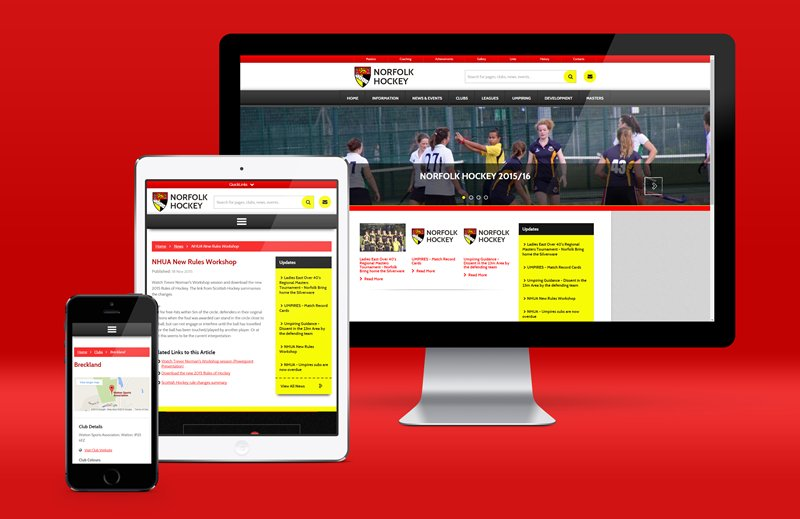 Image for article: The new Norfolk Hockey site is now responsive